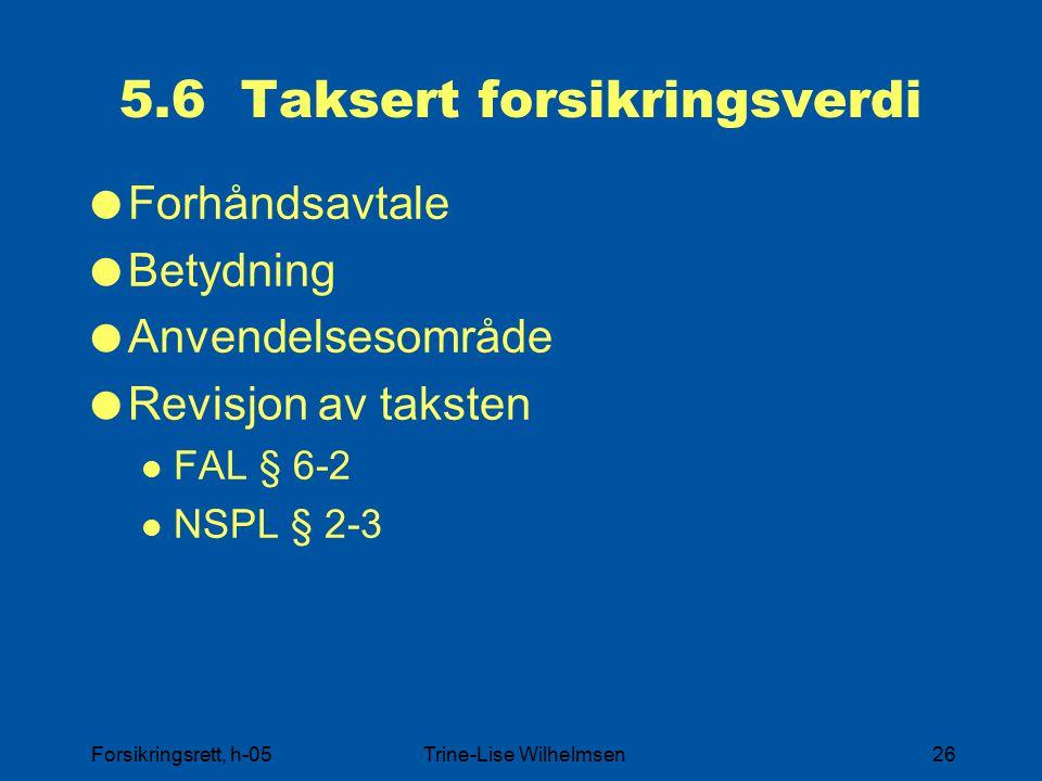 5.6 Taksert forsikringsverdi
