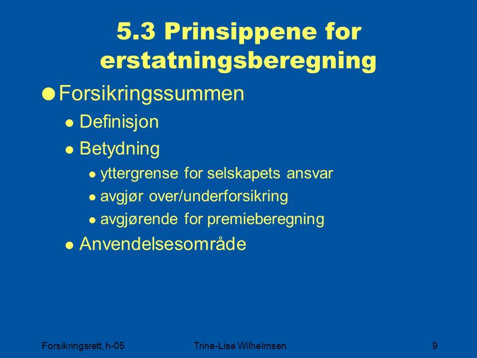 5.3 Prinsippene for erstatningsberegning