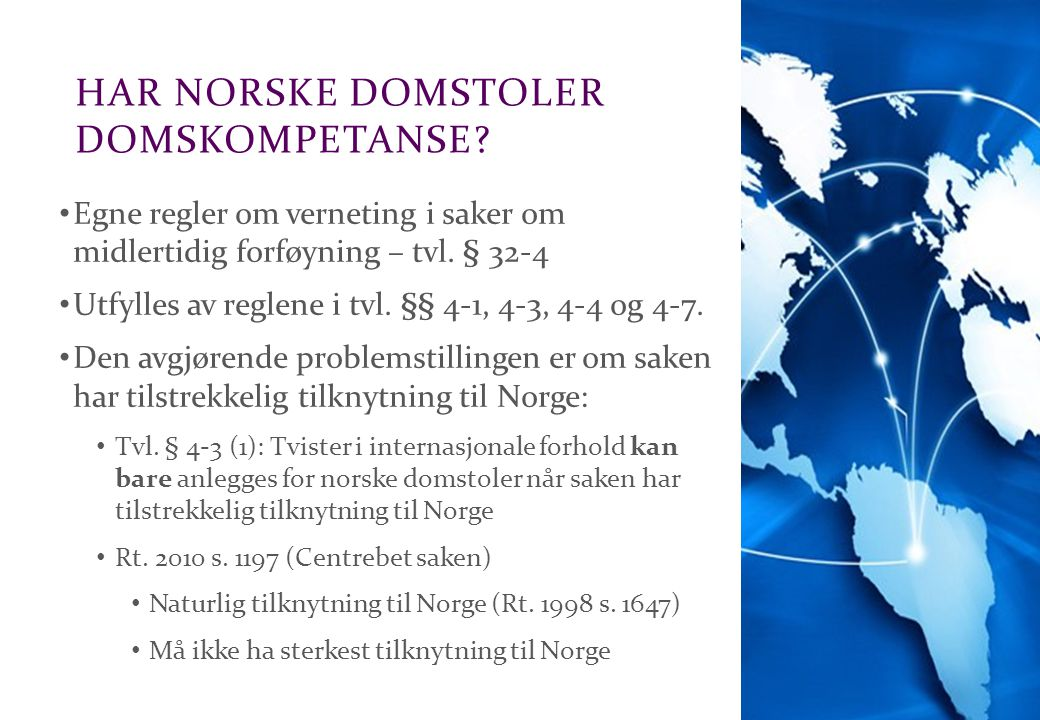 Har norske domstoler Domskompetanse