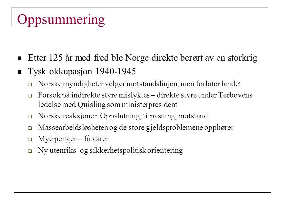 Oppsummering Etter 125 år med fred ble Norge direkte berørt av en storkrig. Tysk okkupasjon 1940-1945.
