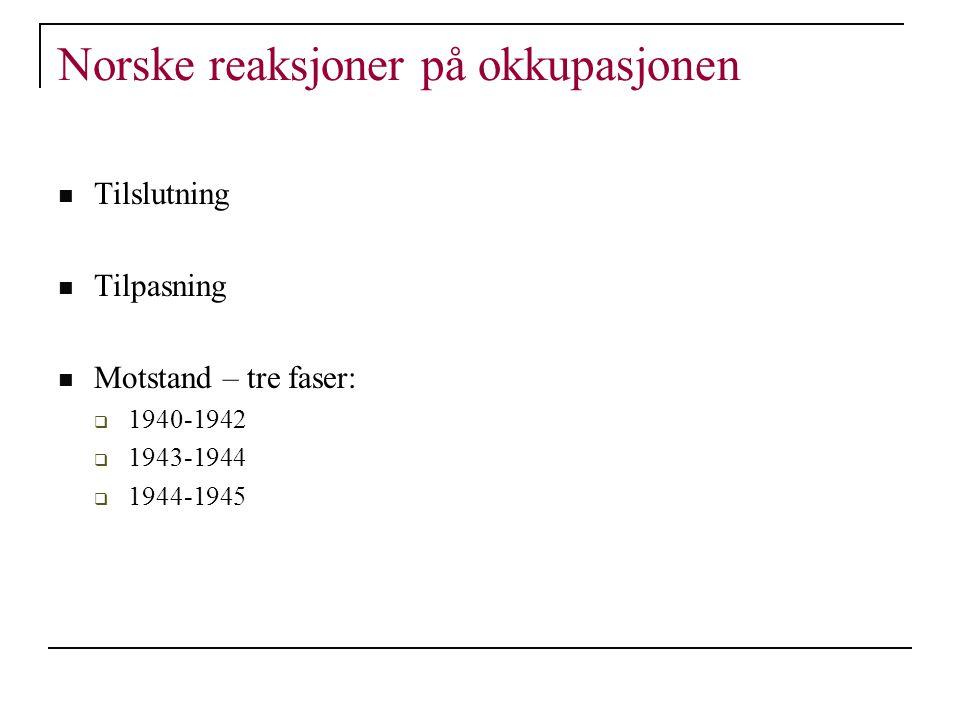 Norske reaksjoner på okkupasjonen