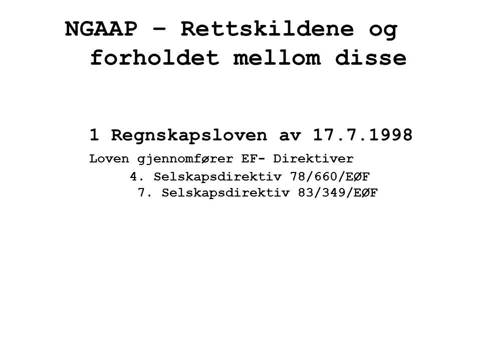 NGAAP – Rettskildene og forholdet mellom disse