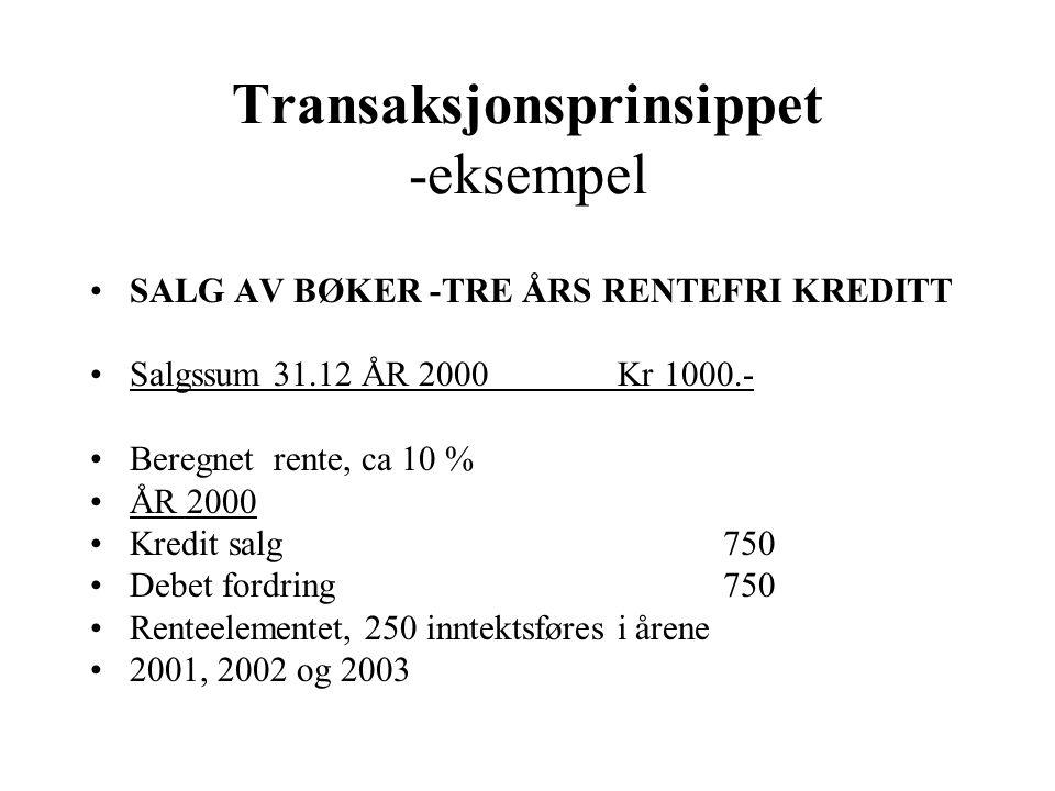 Transaksjonsprinsippet -eksempel