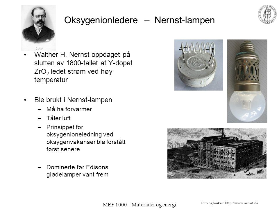 Oksygenionledere – Nernst-lampen