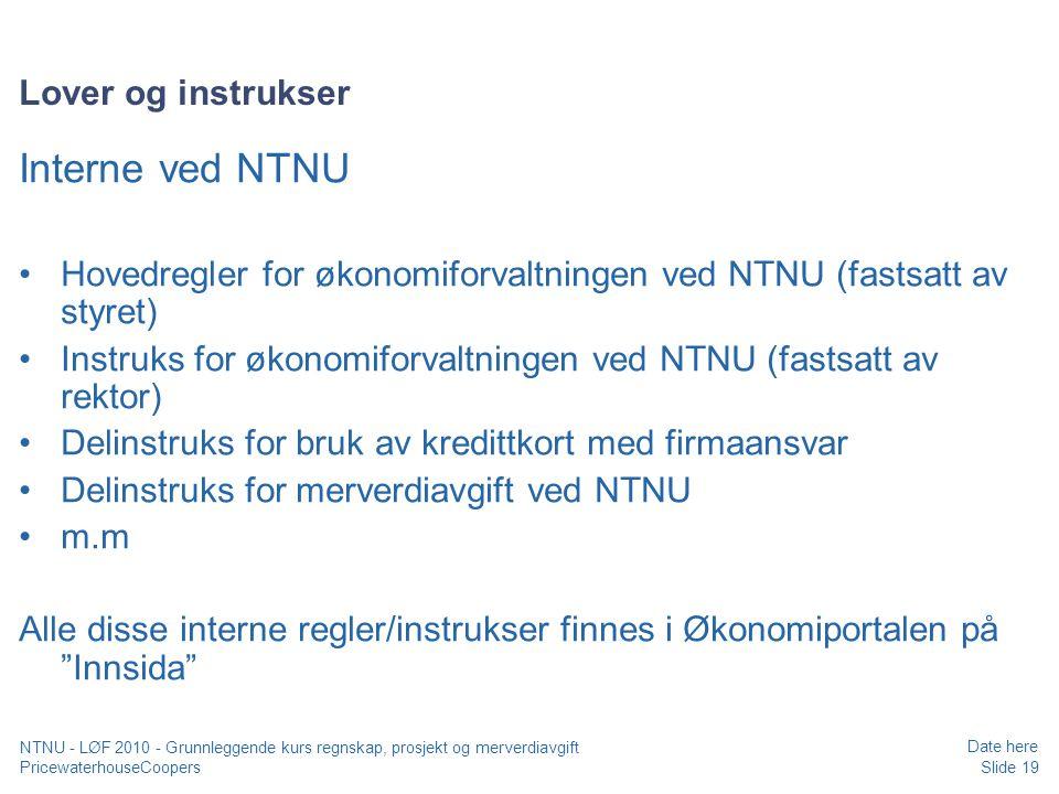 Interne ved NTNU Lover og instrukser