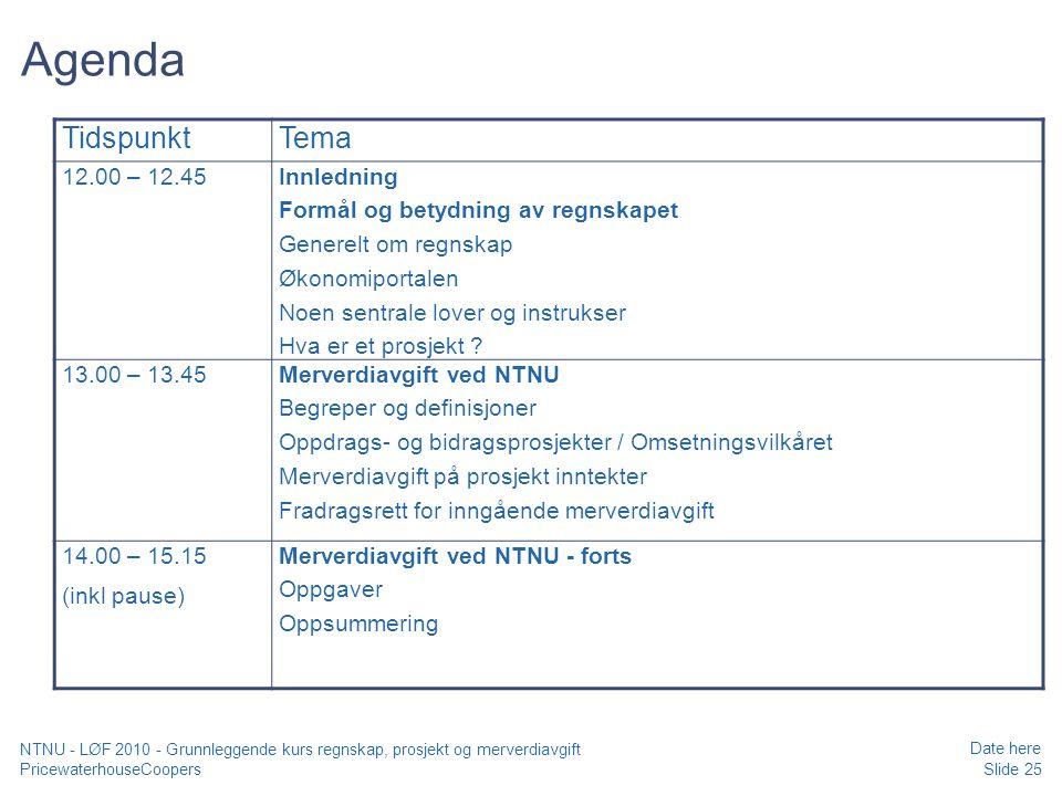 Agenda Tidspunkt Tema 12.00 – 12.45 Innledning