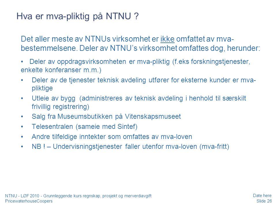 Hva er mva-pliktig på NTNU