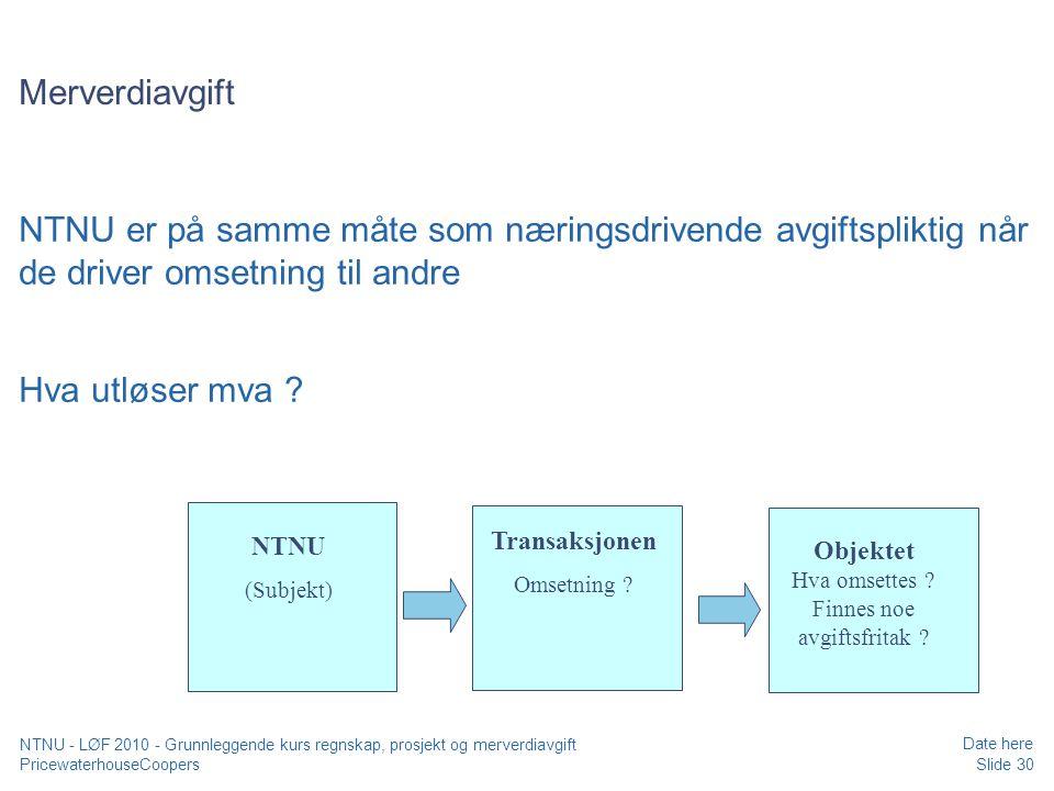 Objektet Hva omsettes Finnes noe avgiftsfritak