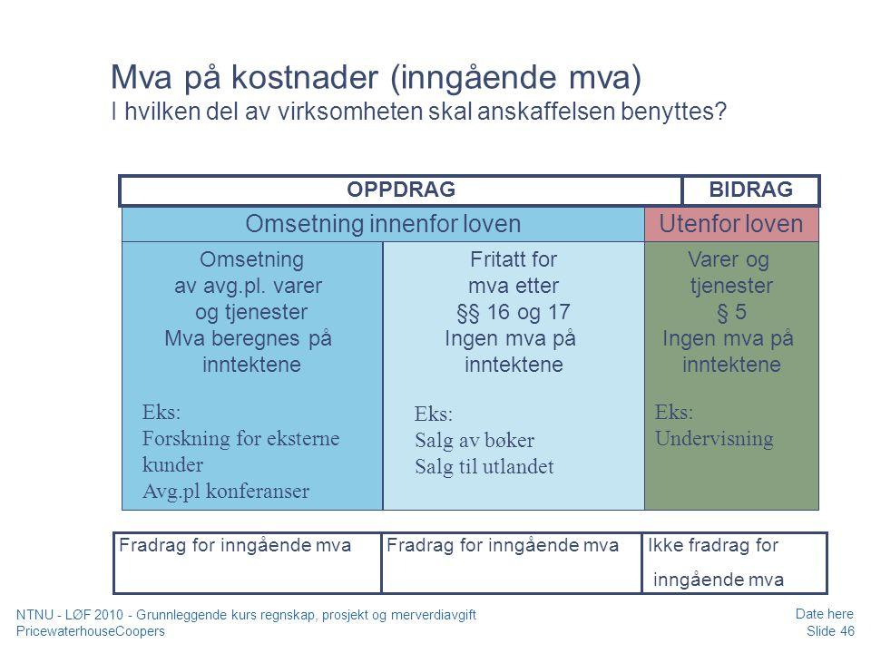 Mva på kostnader (inngående mva) I hvilken del av virksomheten skal anskaffelsen benyttes