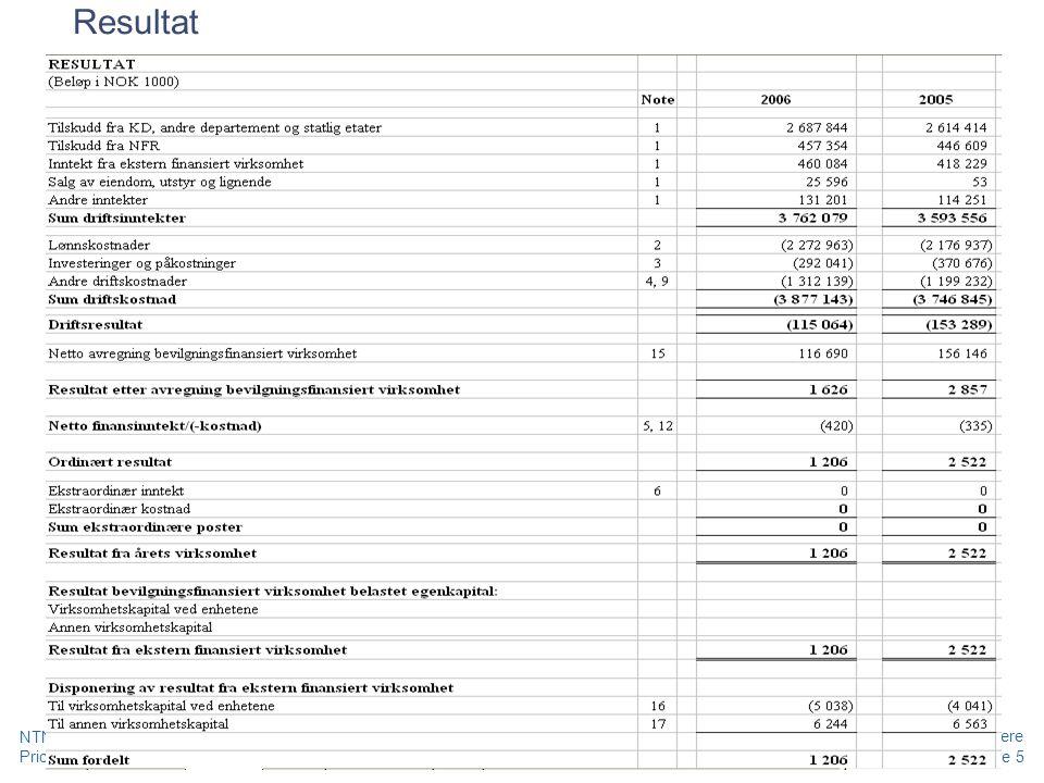 Resultat NTNU - LØF 2010 - Grunnleggende kurs regnskap, prosjekt og merverdiavgift