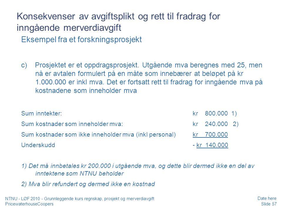 Konsekvenser av avgiftsplikt og rett til fradrag for inngående merverdiavgift