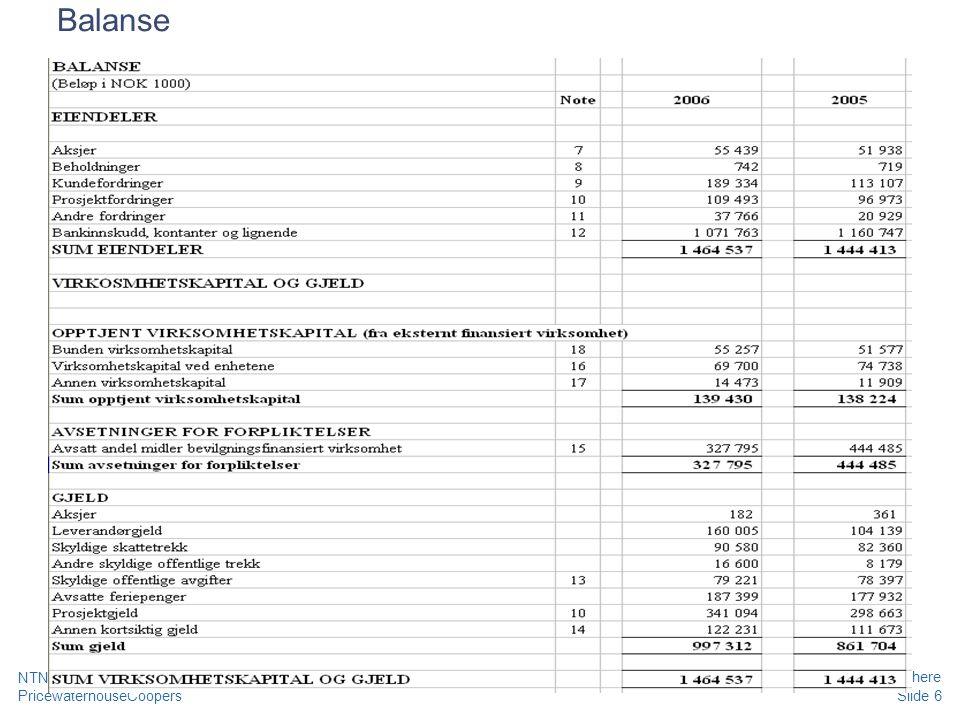 Balanse NTNU - LØF 2010 - Grunnleggende kurs regnskap, prosjekt og merverdiavgift