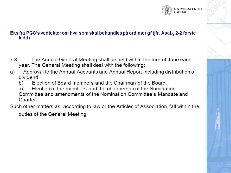 Eks fra PGS's vedtekter om hva som skal behandles på ordinær gf (jfr