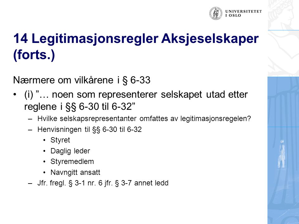 14 Legitimasjonsregler Aksjeselskaper (forts.)