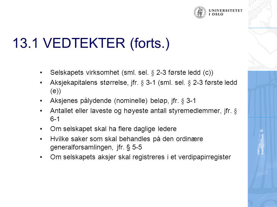 13.1 VEDTEKTER (forts.) Selskapets virksomhet (sml. sel. § 2-3 første ledd (c))