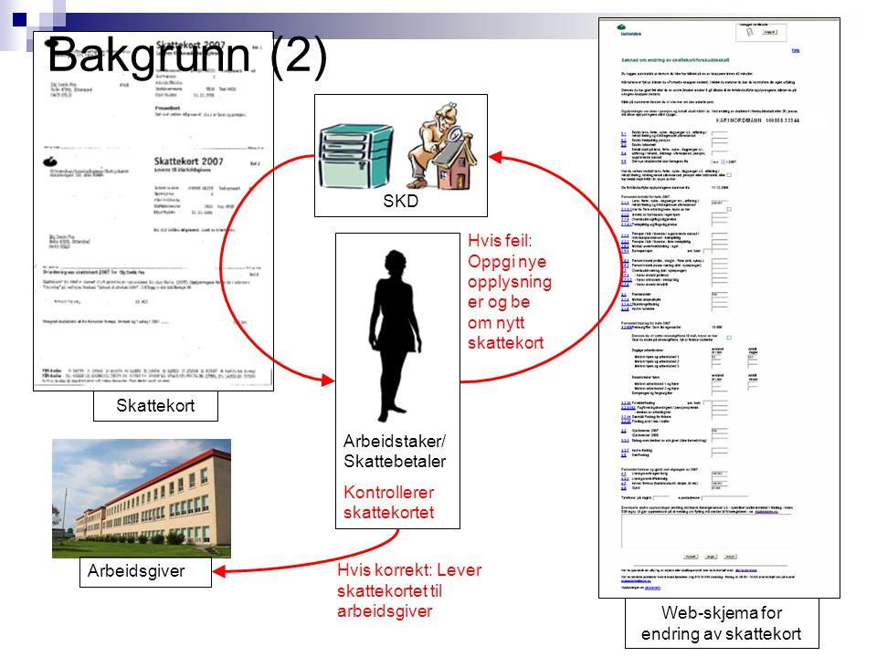 Web-skjema for endring av skattekort