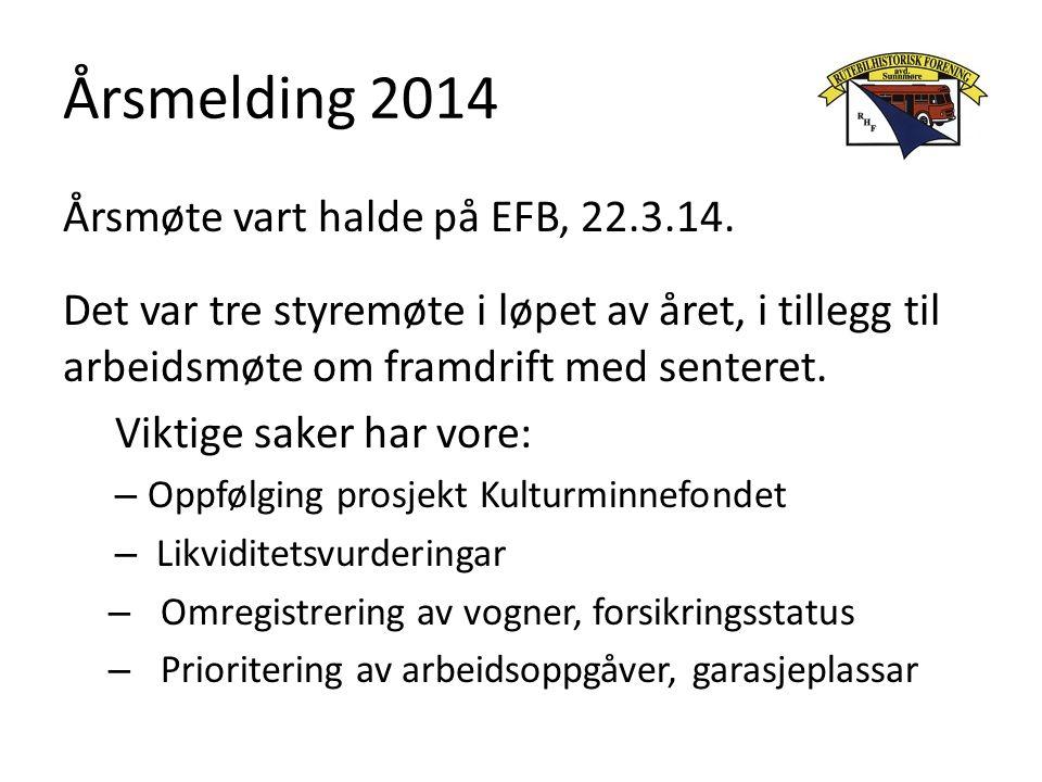 Årsmelding 2014 Årsmøte vart halde på EFB, 22.3.14.