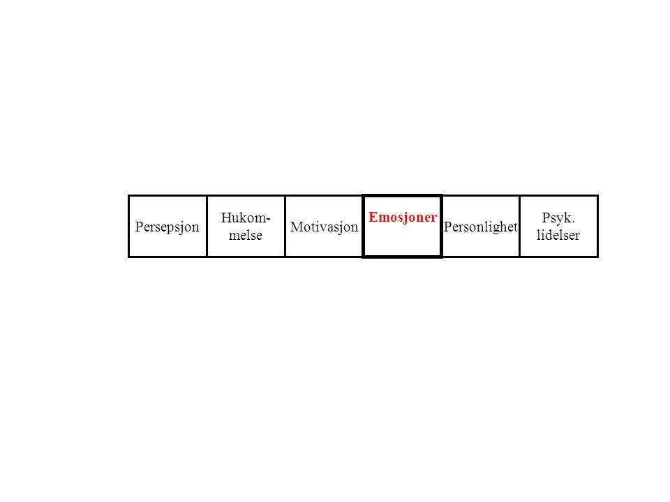 Persepsjon Hukom- melse Motivasjon Emosjoner Personlighet Psyk. lidelser
