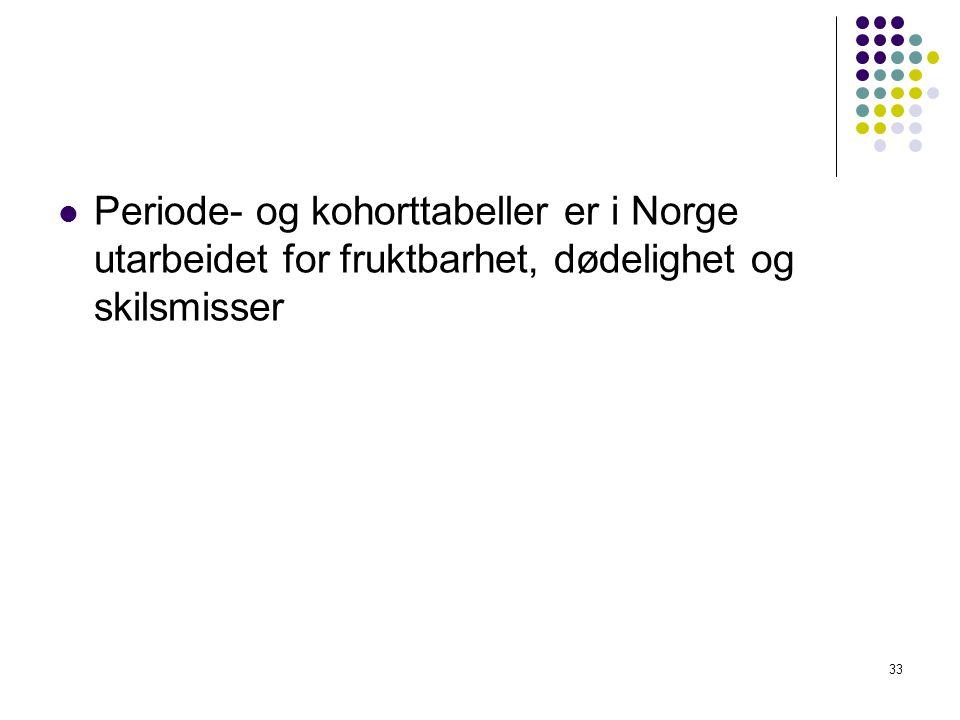 Periode- og kohorttabeller er i Norge utarbeidet for fruktbarhet, dødelighet og skilsmisser