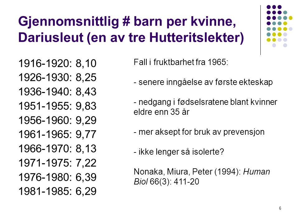 Gjennomsnittlig # barn per kvinne, Dariusleut (en av tre Hutteritslekter)