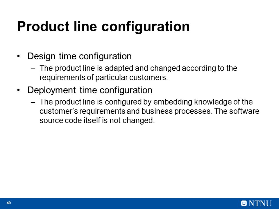 Product line configuration