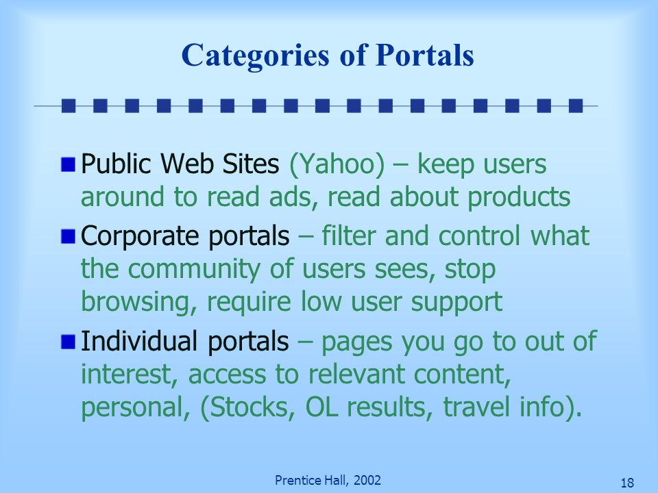 Categories of Portals Public Web Sites (Yahoo) – keep users around to read ads, read about products.