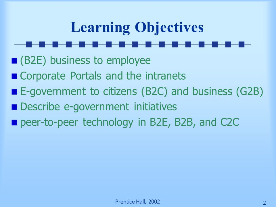 Learning Objectives (B2E) business to employee