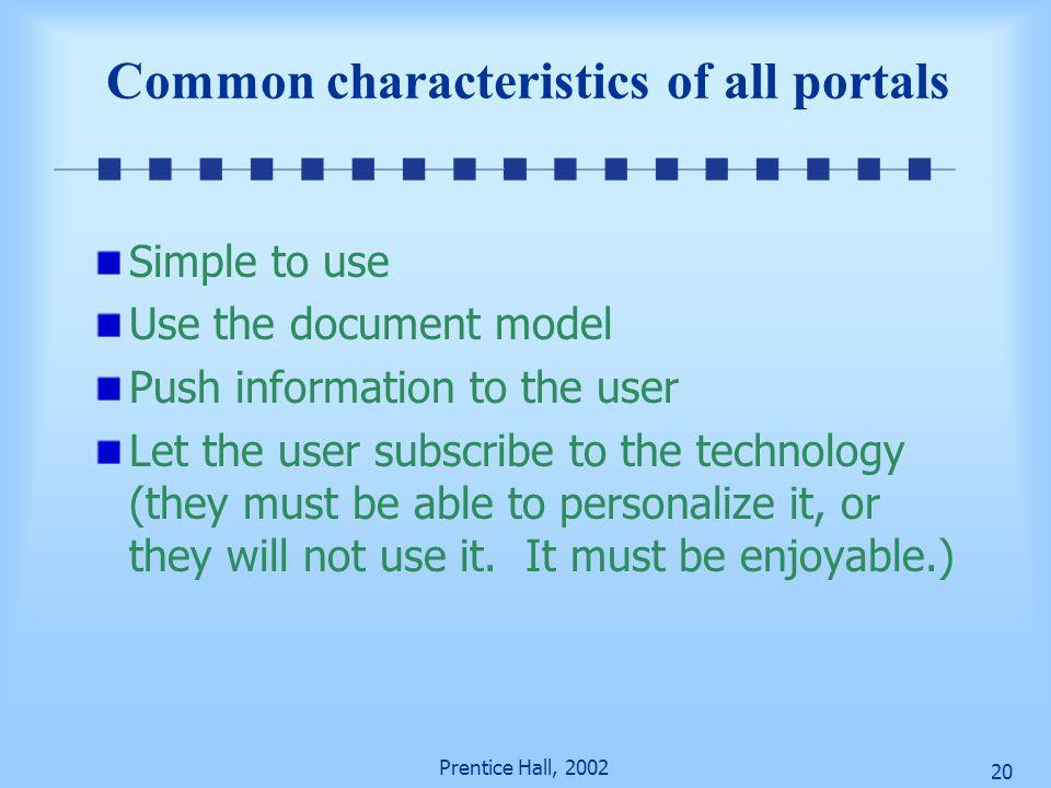 Common characteristics of all portals