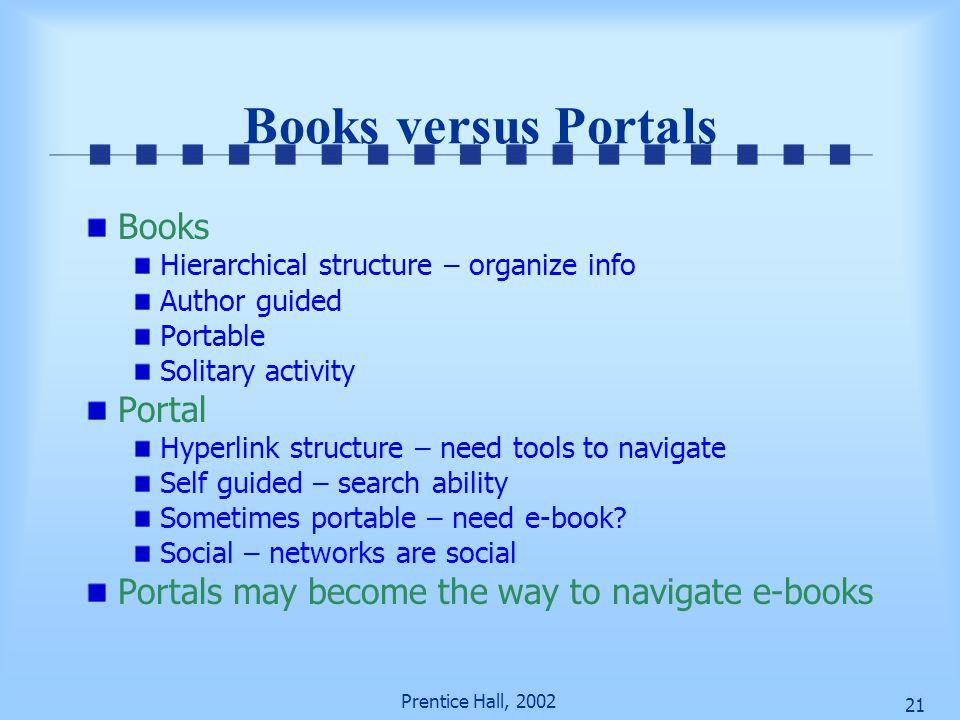 Books versus Portals Books Portal