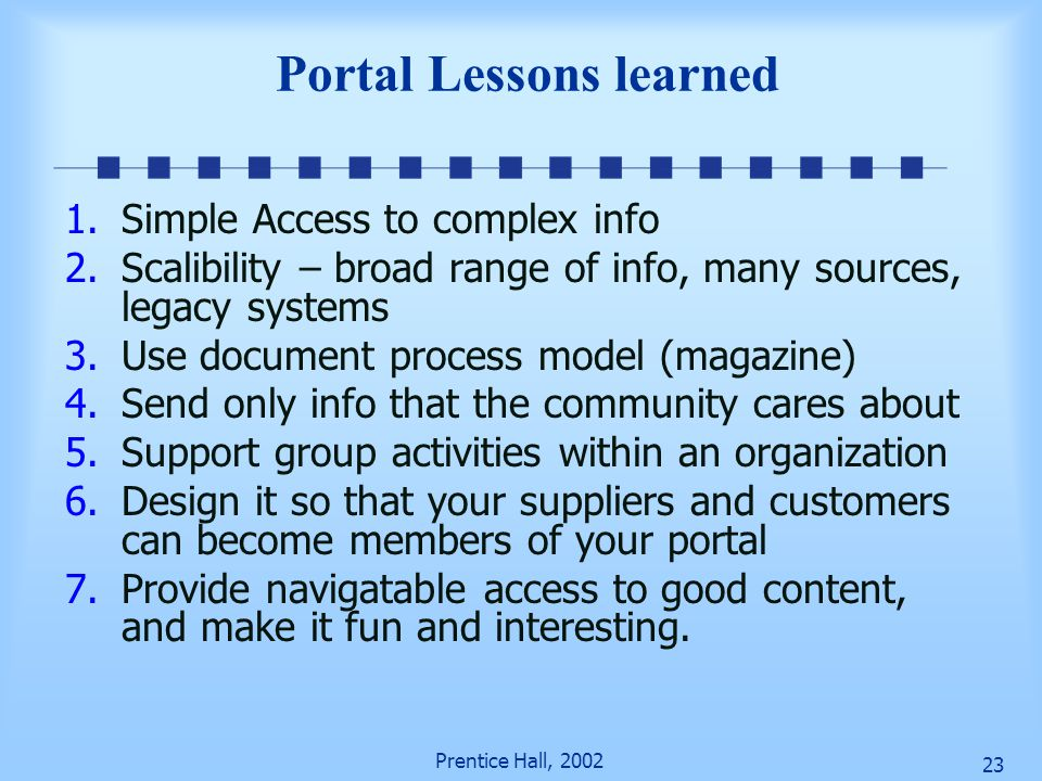 Portal Lessons learned