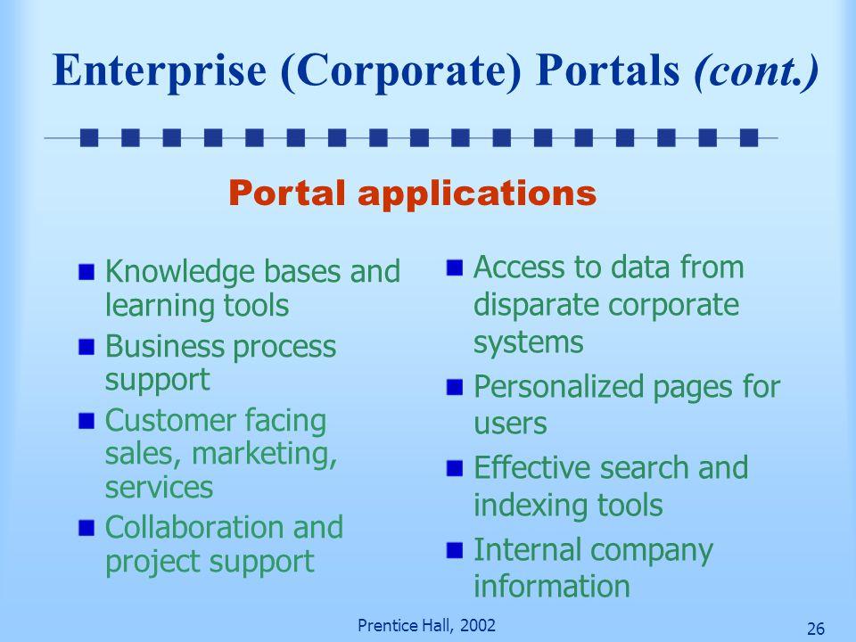 Enterprise (Corporate) Portals (cont.)