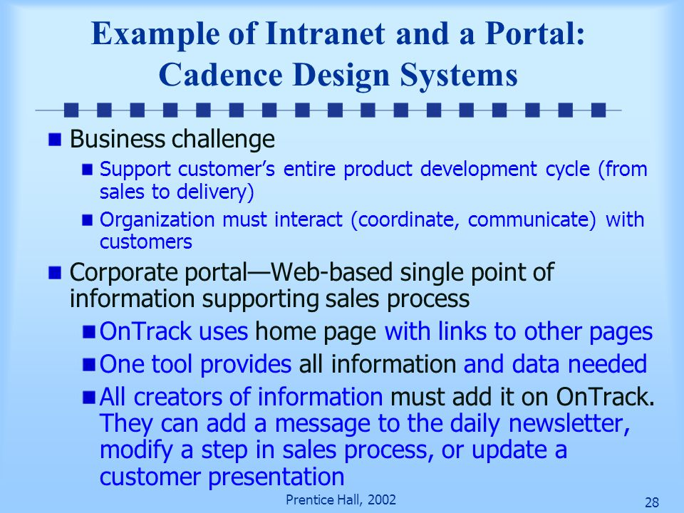 Example of Intranet and a Portal: Cadence Design Systems