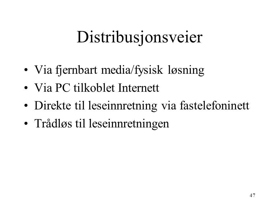 Distribusjonsveier Via fjernbart media/fysisk løsning