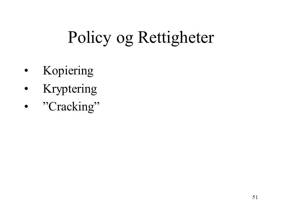 Policy og Rettigheter Kopiering Kryptering Cracking