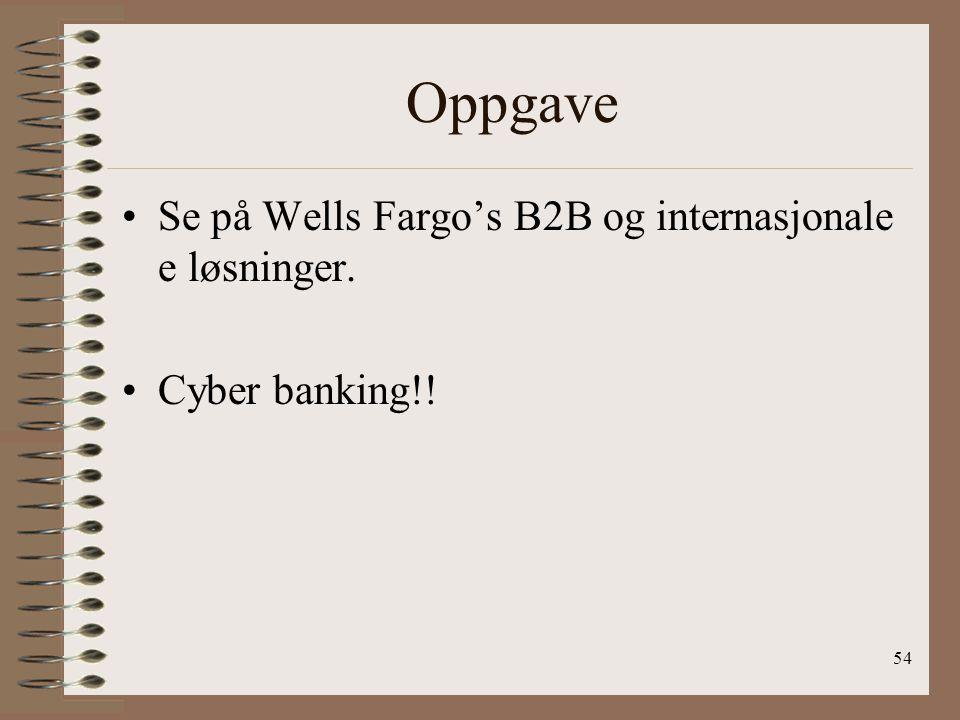 Oppgave Se på Wells Fargo's B2B og internasjonale e løsninger.