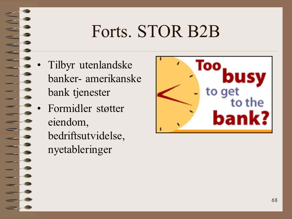Forts. STOR B2B Tilbyr utenlandske banker- amerikanske bank tjenester