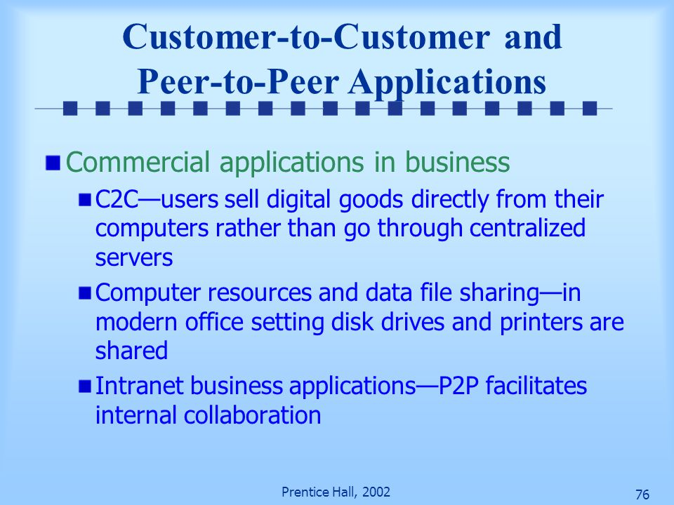 Customer-to-Customer and Peer-to-Peer Applications