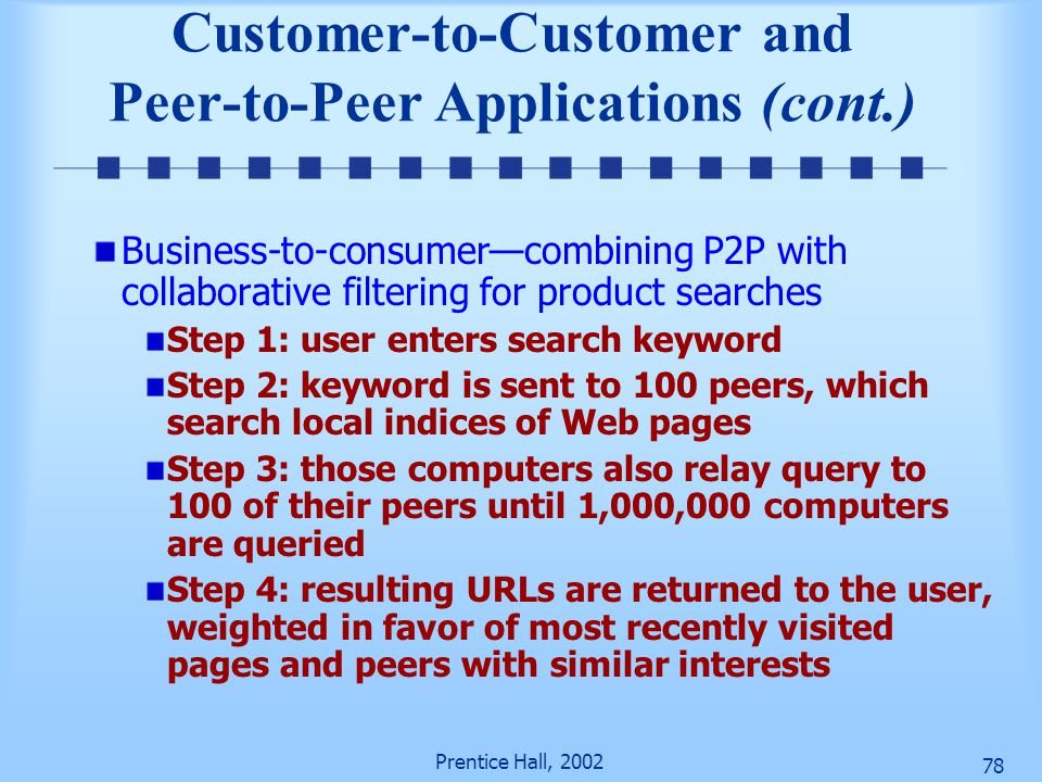 Customer-to-Customer and Peer-to-Peer Applications (cont.)