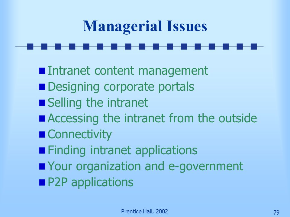 Managerial Issues Intranet content management
