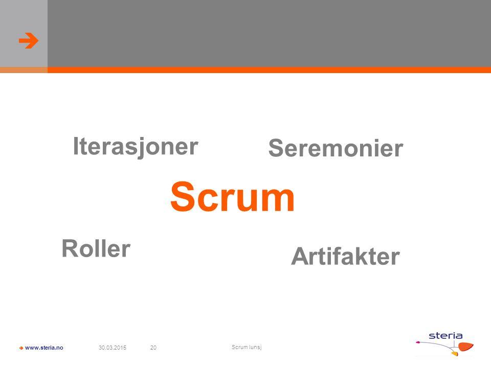 Iterasjoner Seremonier Scrum Roller Artifakter 09.04.2017 Scrum lunsj