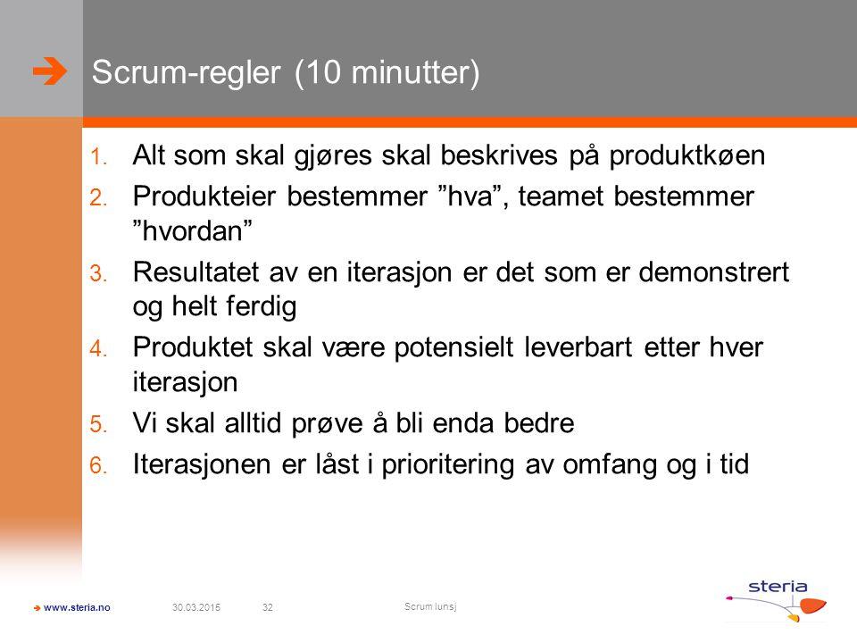 Scrum-regler (10 minutter)