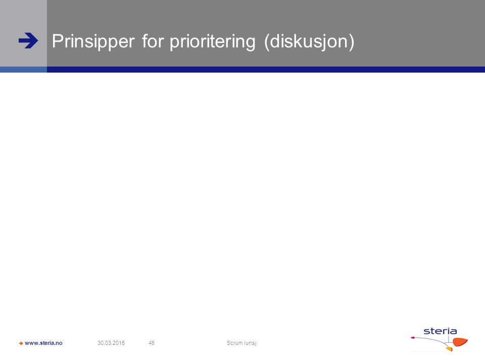 Prinsipper for prioritering (diskusjon)