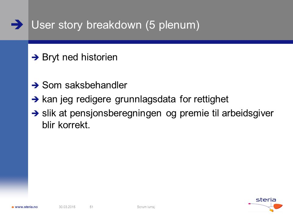 User story breakdown (5 plenum)