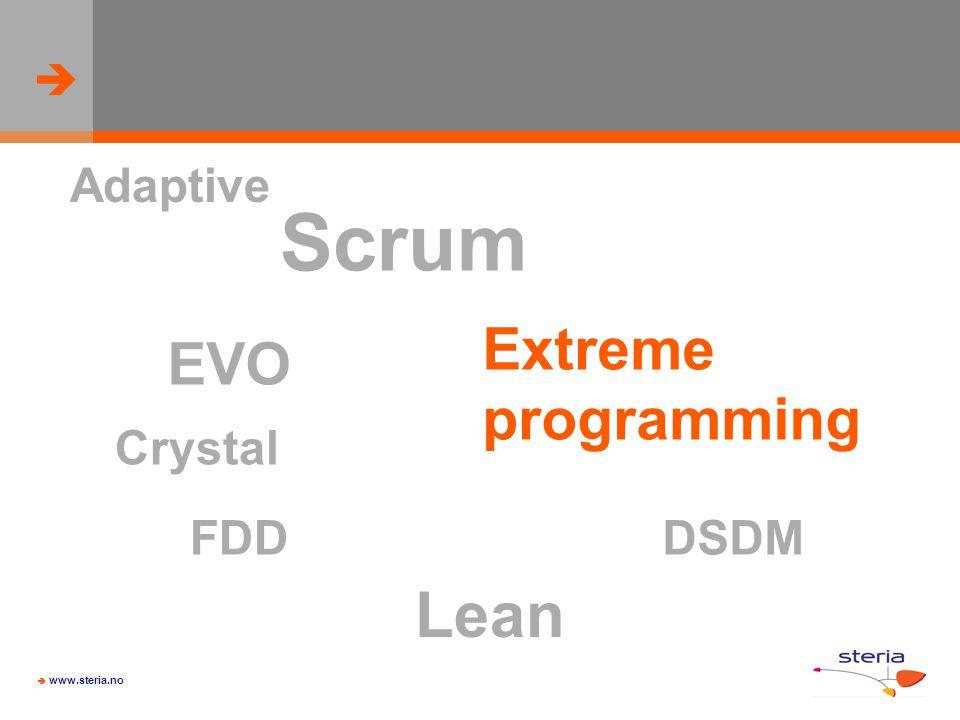 Adaptive Scrum Extreme programming EVO Crystal FDD DSDM Lean