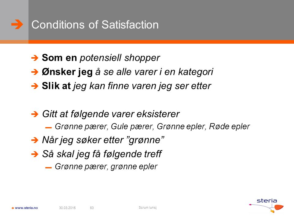 Conditions of Satisfaction