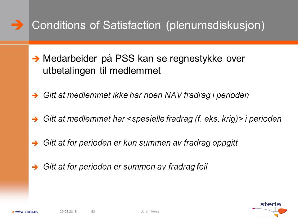 Conditions of Satisfaction (plenumsdiskusjon)