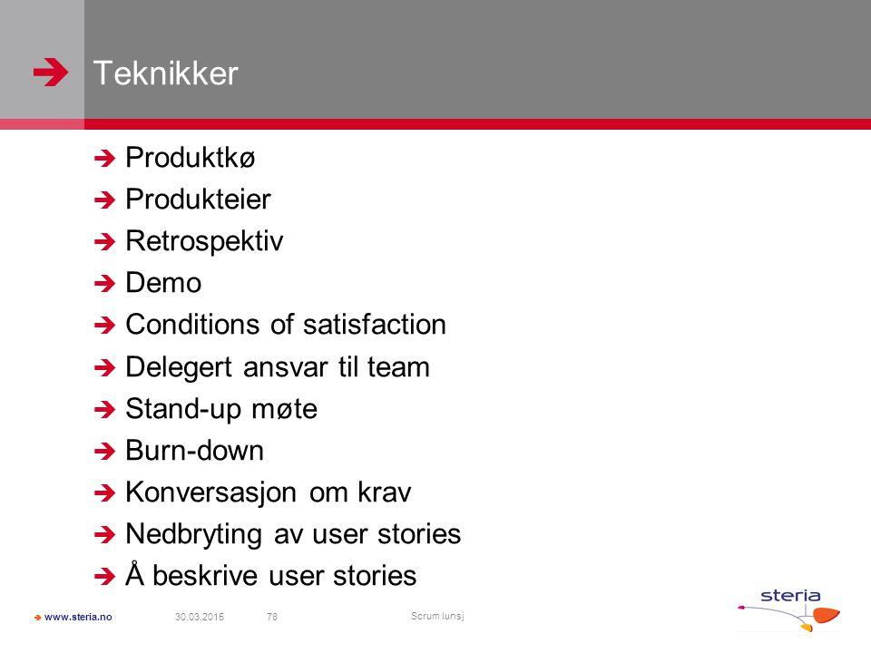 Teknikker Produktkø Produkteier Retrospektiv Demo