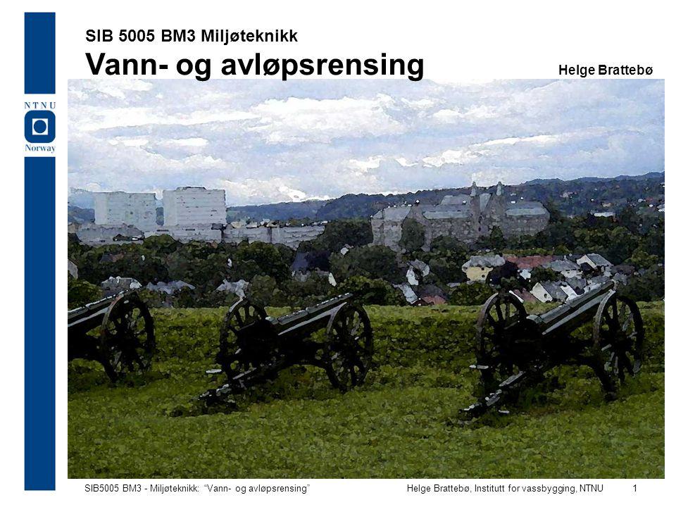 SIB 5005 BM3 Miljøteknikk Vann- og avløpsrensing Helge Brattebø