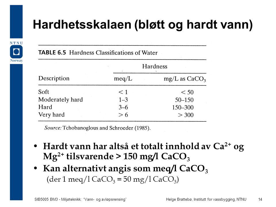 Hardhetsskalaen (bløtt og hardt vann)