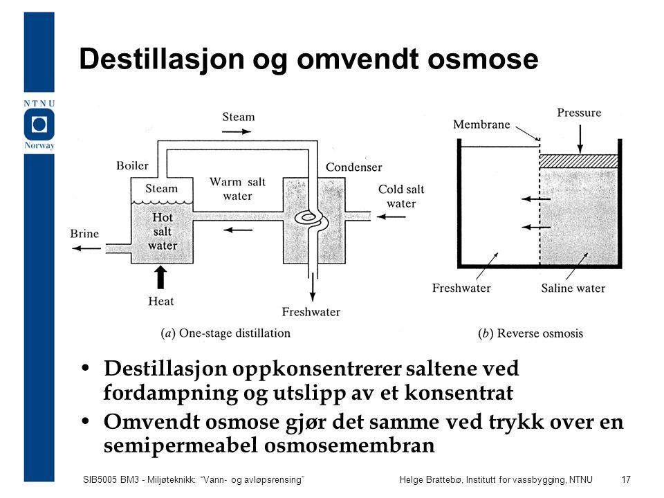 Destillasjon og omvendt osmose